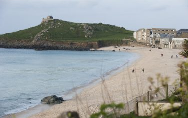 image of Porthmeor beach at St Ives, Cornish coastal path