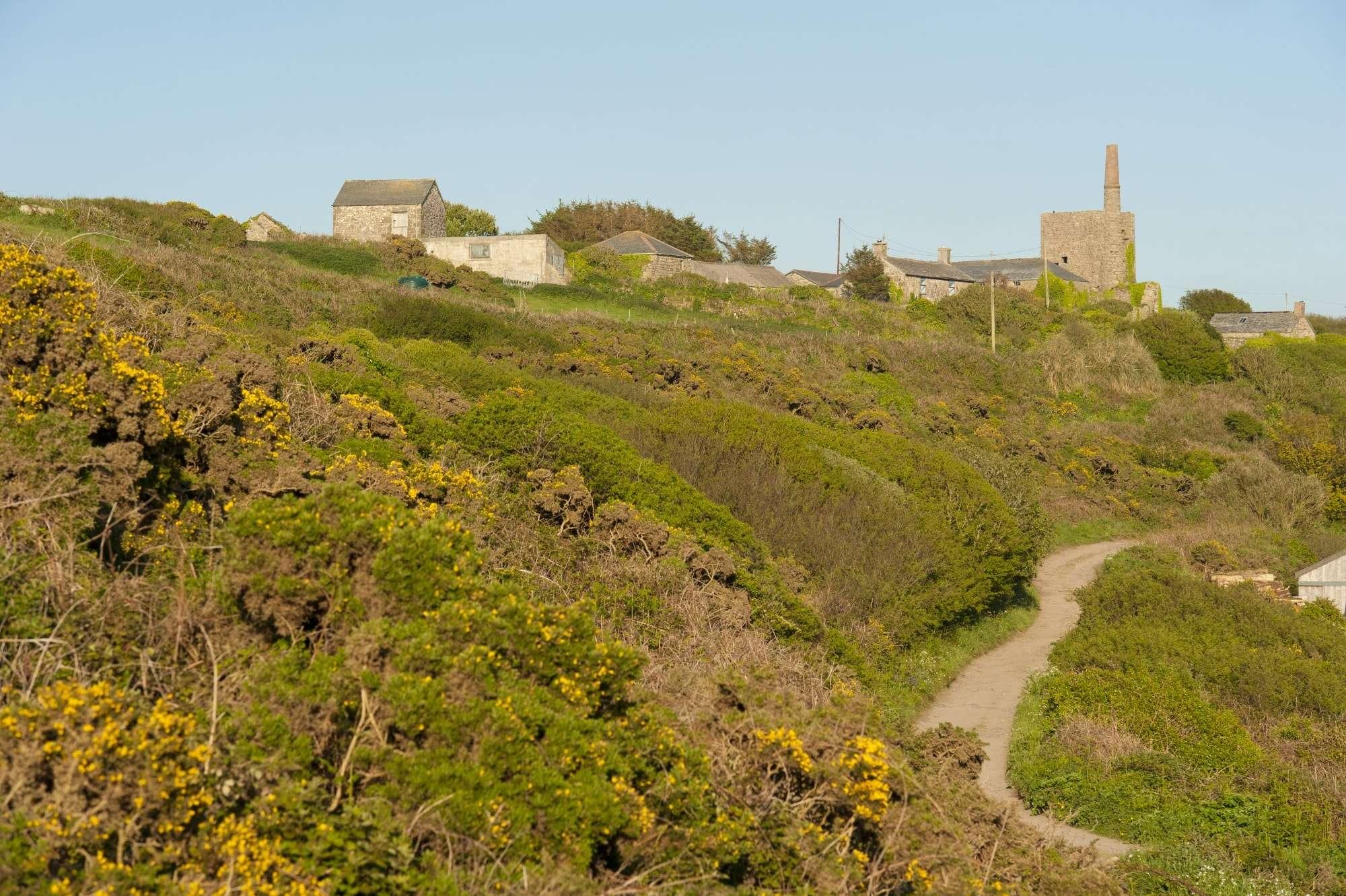 Village scene along the Cornwall coast path