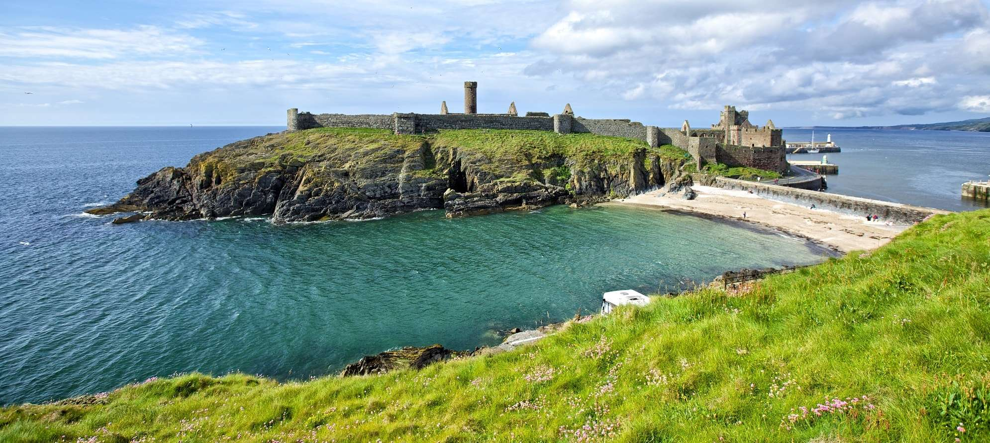 Peel Castle, connected to the town by causeway