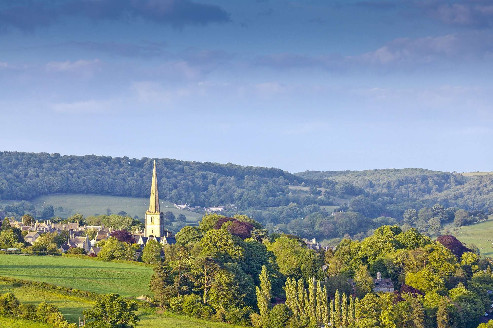 Image of spire of St. Lawrence, Stroud, Cotswold Way, walks in Chipping Campden