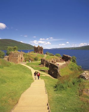 Urquhart Castle Strome Point Great Glen Way with a view to Loch Ness Walking Holiday Visit Scotland
