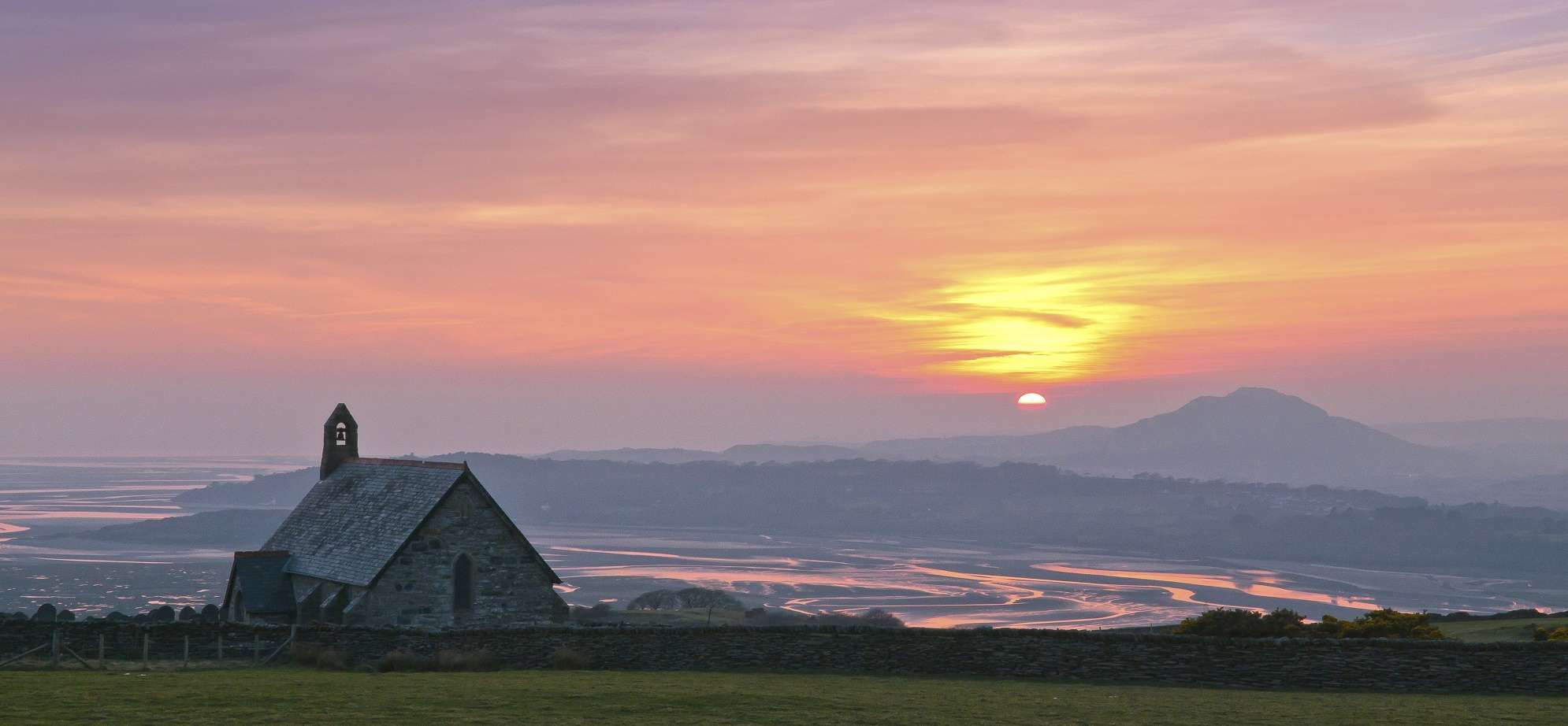 Llandecwyn church and Dwyryd estuary at sunset