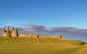 Dunstanburgh Castle between the villages of Craster and Embleton