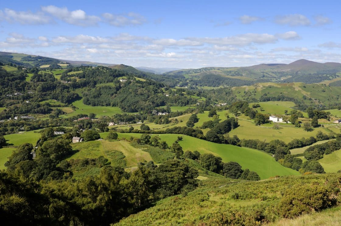 View over Dinas Bran Offa's Dyke