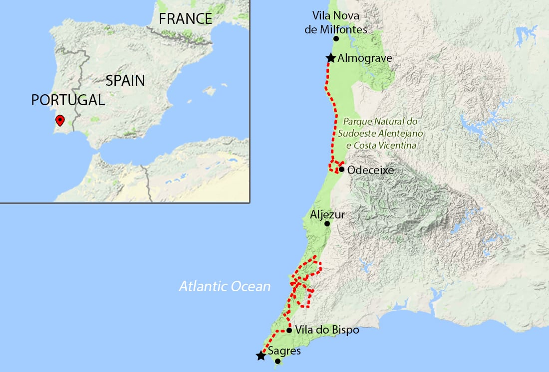 Rota Vicentina Walking Holidays Portugal Celtic Trails Walking - Portugal map sagres