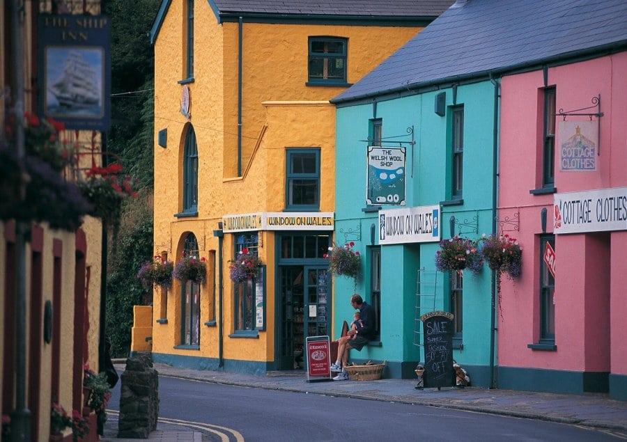 Multi coloured houses in Solva, Pembrokeshire,