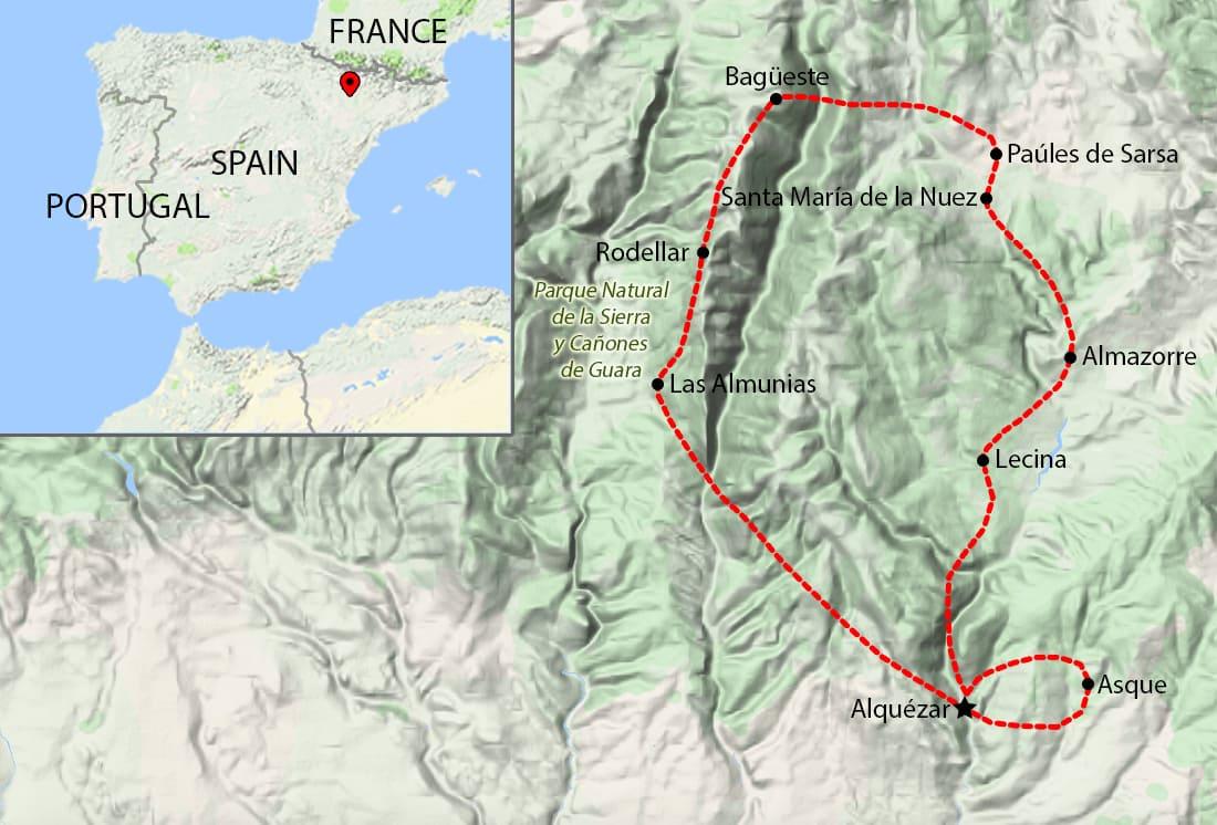 Walking Holidays Aragon-Sierra de Guara - Map