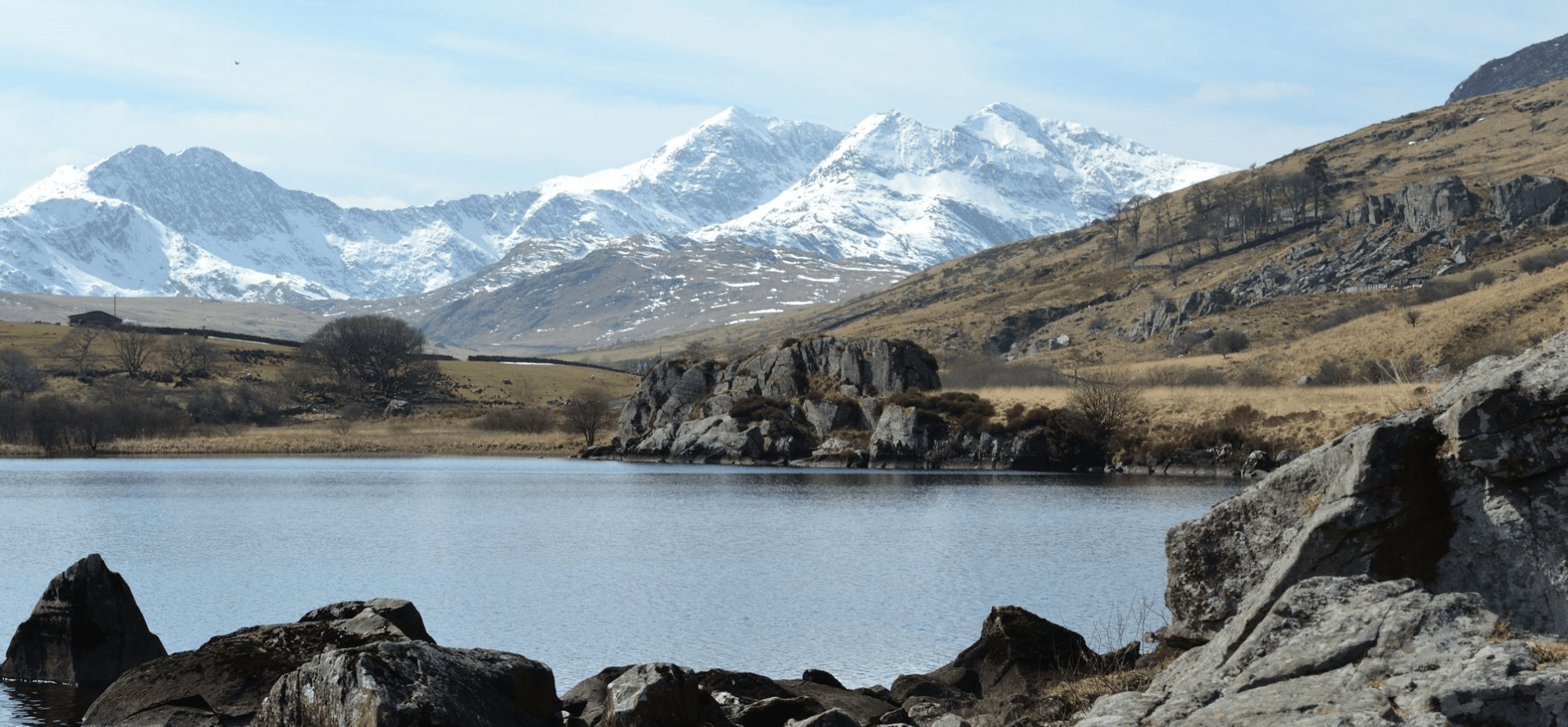 Mount Snowdonia looming over lake in Snowdonia