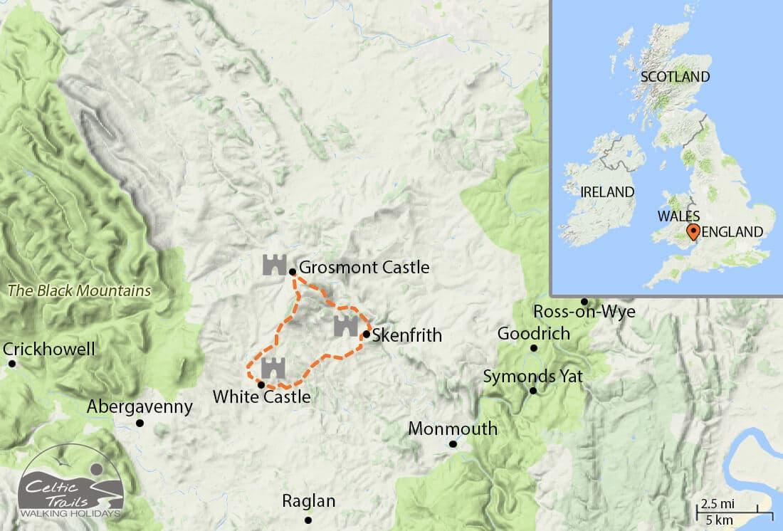Three Castles Walk map