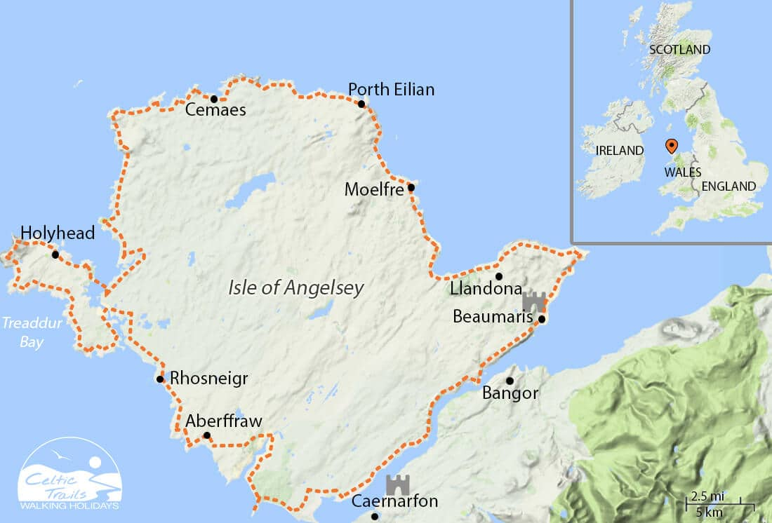 Map of our Anglesey Coast Path walking route