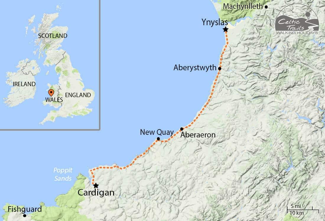 Ceredigion Coast Path walk map