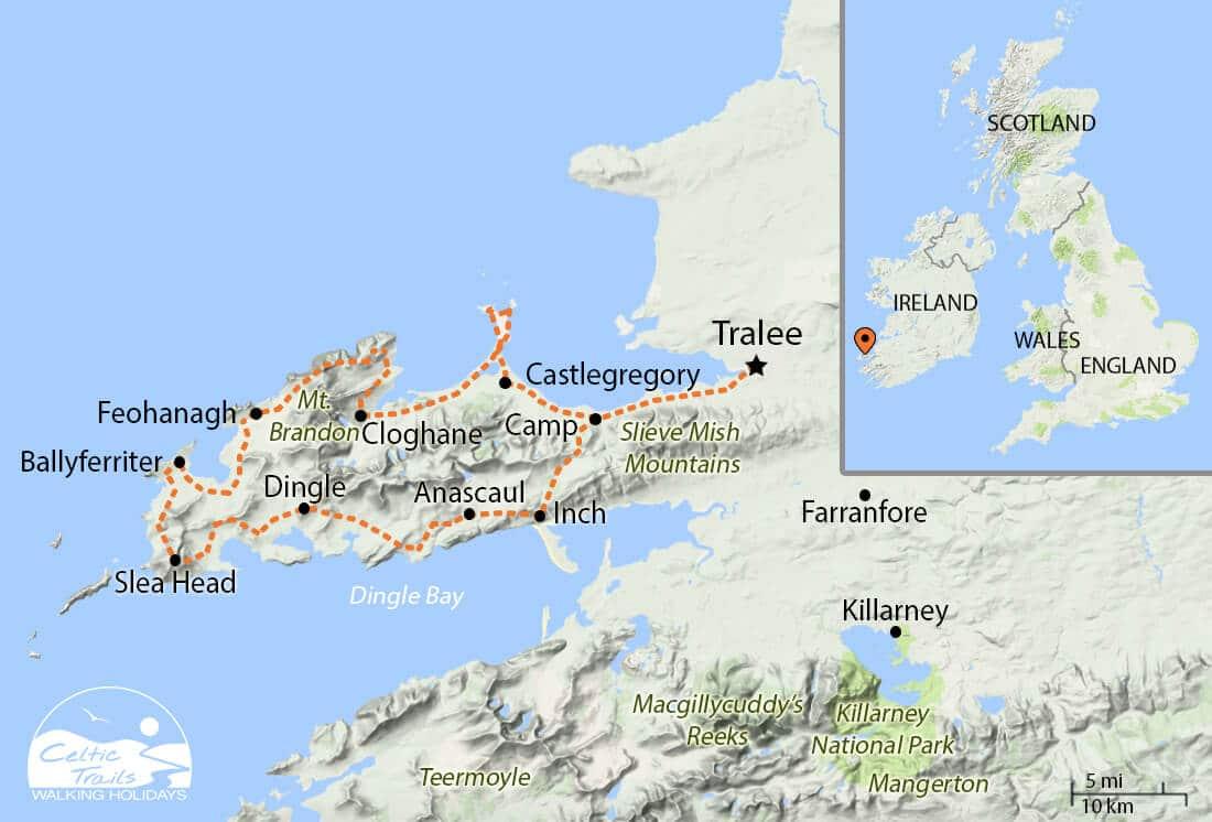 Dingle Way walk map