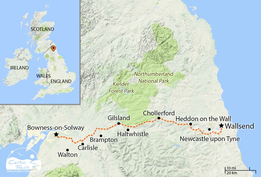Hadrian's Wall Path walk map