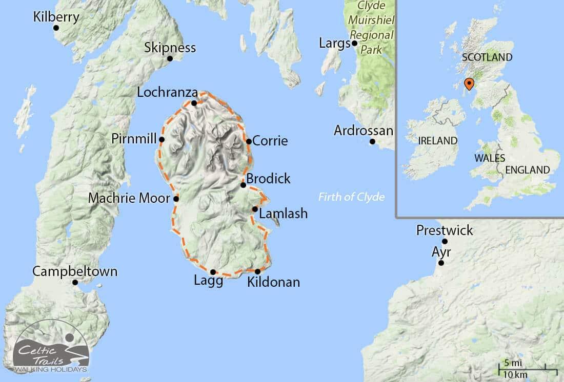 Isle of Arran Coastal Way walk map