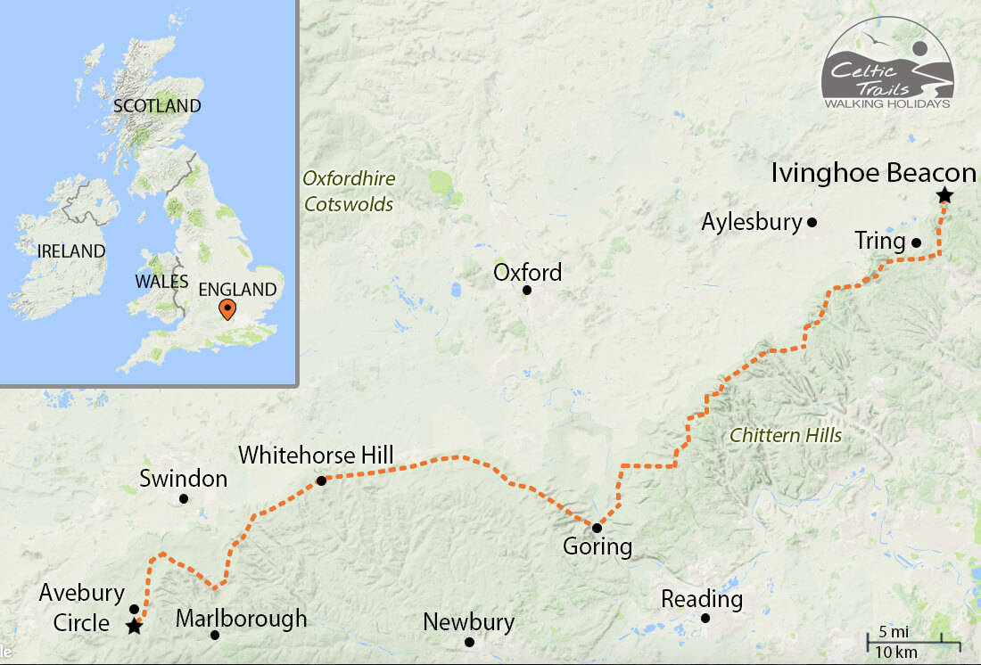 The Ridgeway walk map