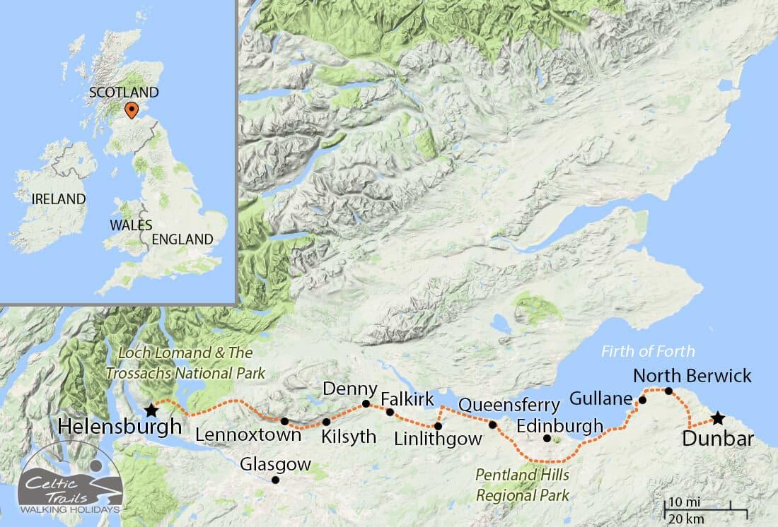 John Muir Way walk map