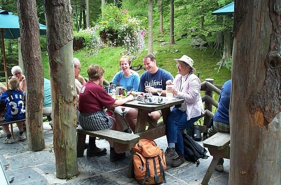 Out on a trek, lunch on the way