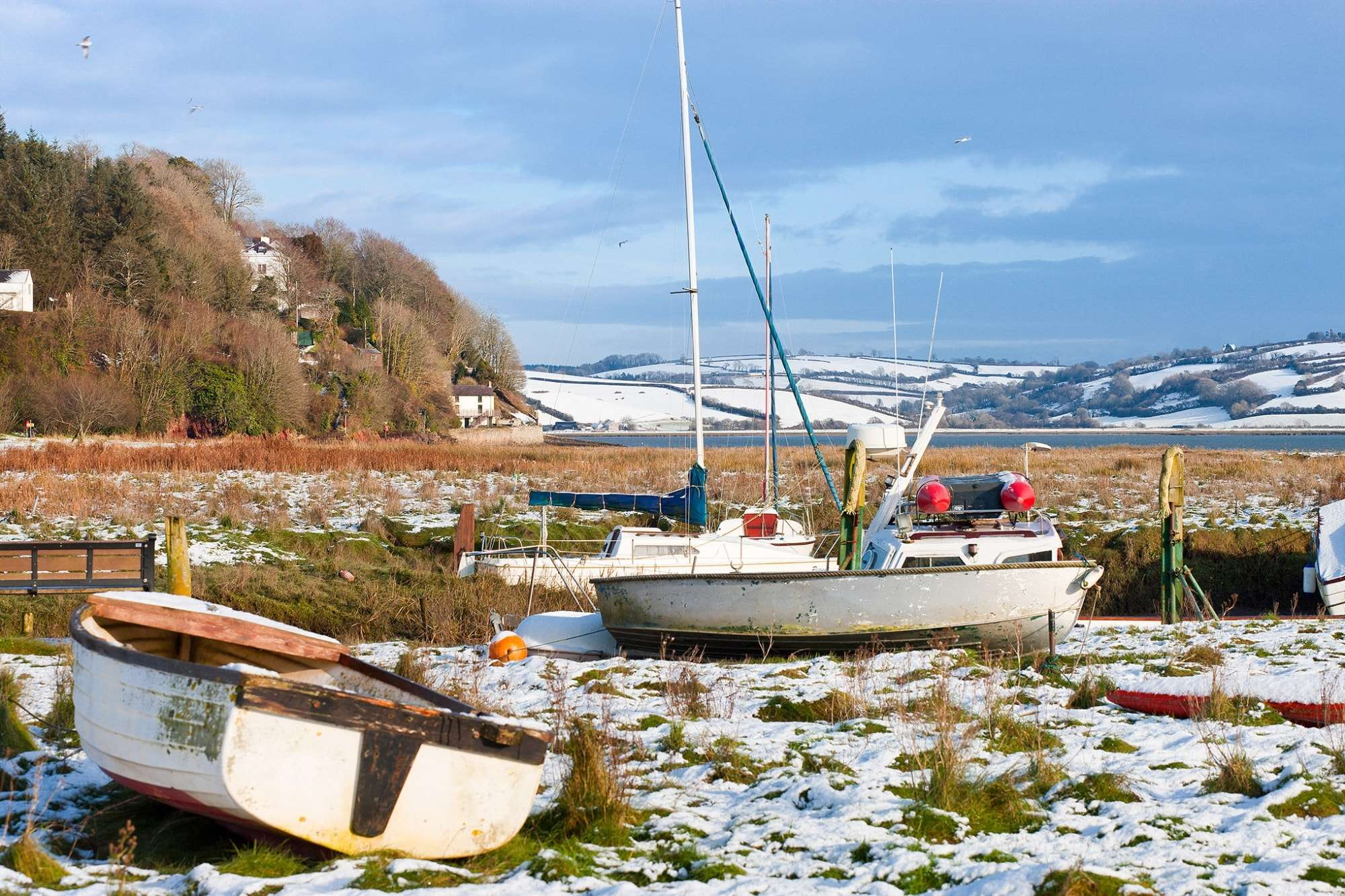 Image of Dylan Thomas Boathouse and Taf Estuary Carmarthenshire, Wales