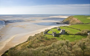 Ariel view of Llansteffan Castle, Carmarthenshire, Wales
