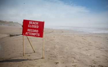 Image of Pendine Sands closed for land speed record attempts, Carmarthenshire, Wales