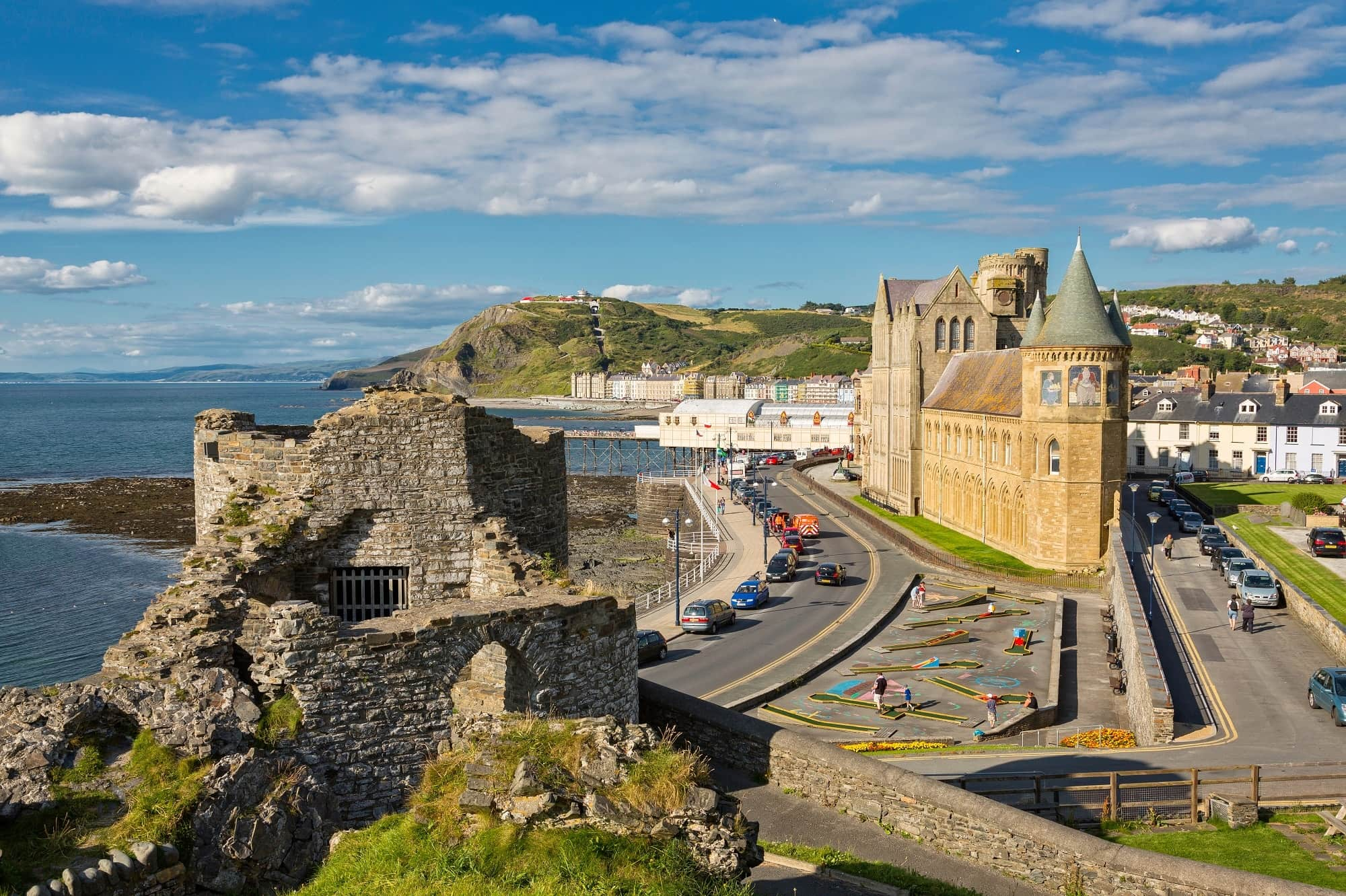 Image of town and church scene in Aberystwyth