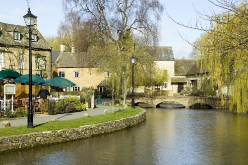 Bourton-on-the-Water, a village in Gloucestershire, within the Cotswolds Area of Oustanding Natural Beauty, South England