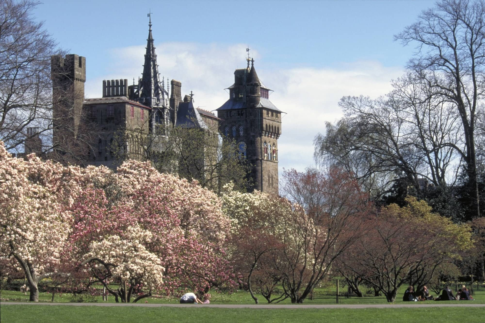 Image of Cardiff Castle, from Bute Park, part of the South Wales Coast