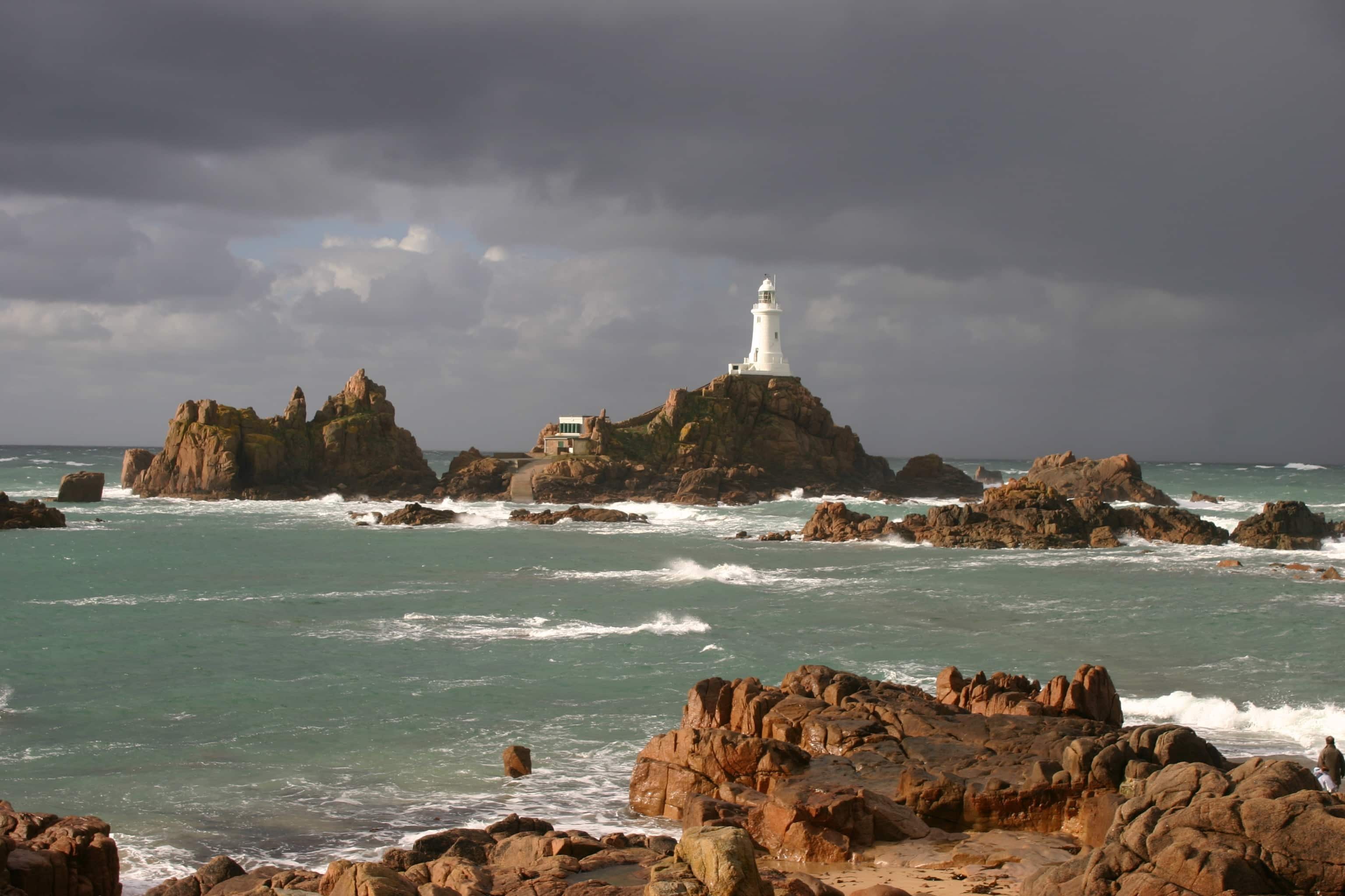 La Corbière Lighthouse, situated on a tidal rock outside Jersey, England