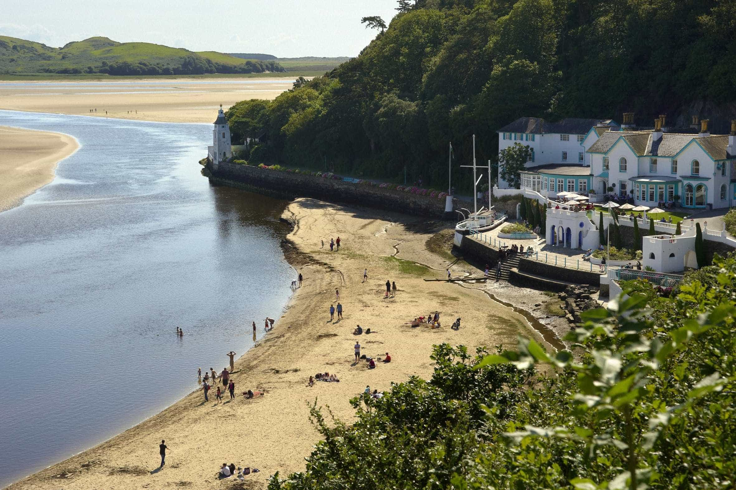 smal crowd of beachgoers at Portmeirion Beach on the Meirionnydd Coast