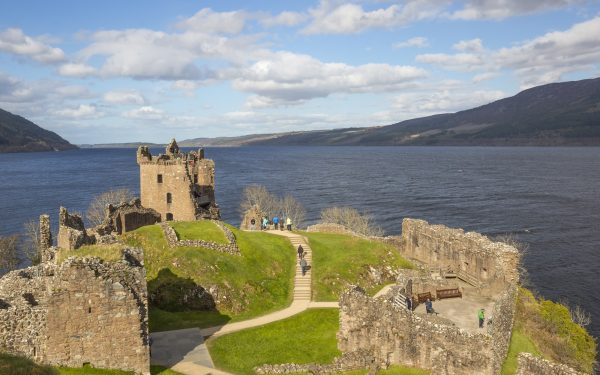 Urquhart Castle commands great views of Loch Ness and can be found beside the village of Drumnadrochit