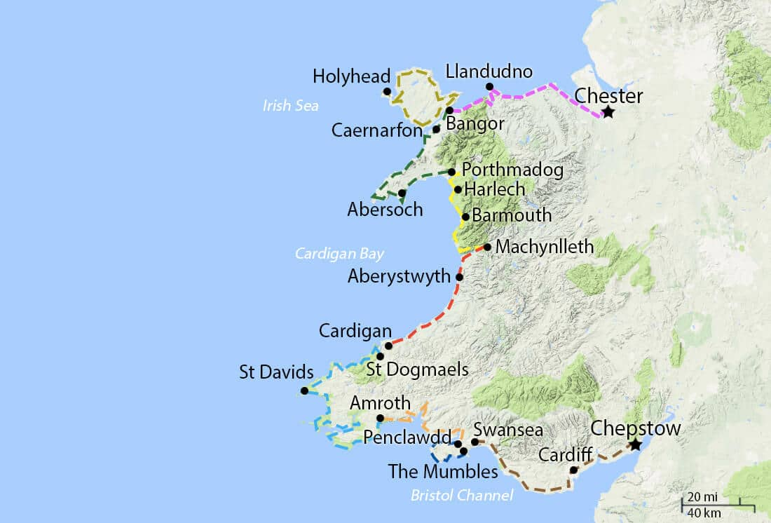 Map of the Wales Coast Path Walking Routes
