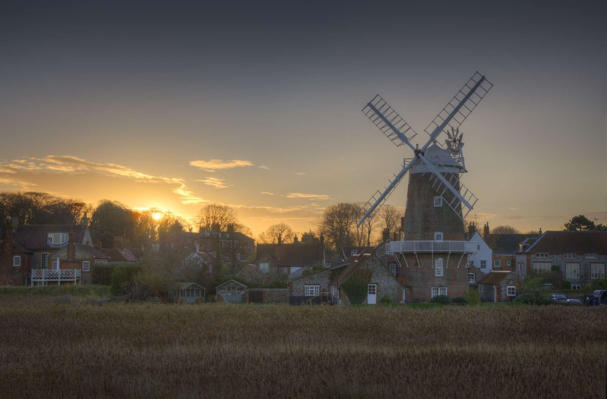 Image of Windmill in coastal village of Blakeney, Norfolk, England