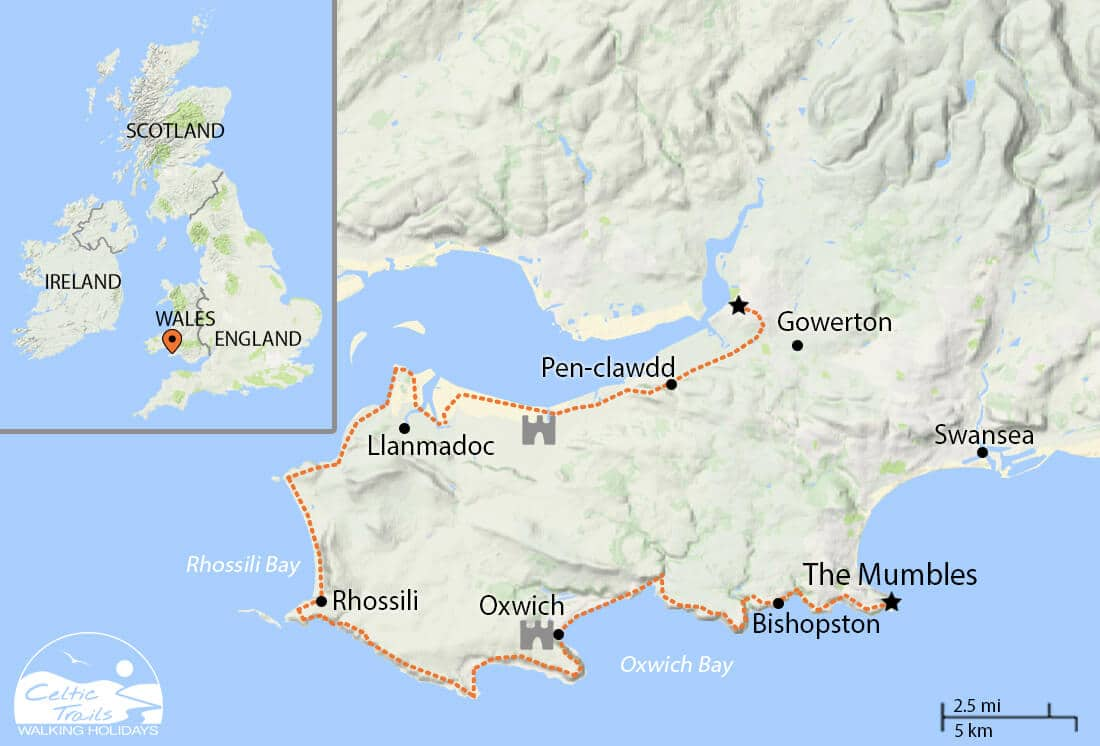 Walking Map for the Gower Coast Path