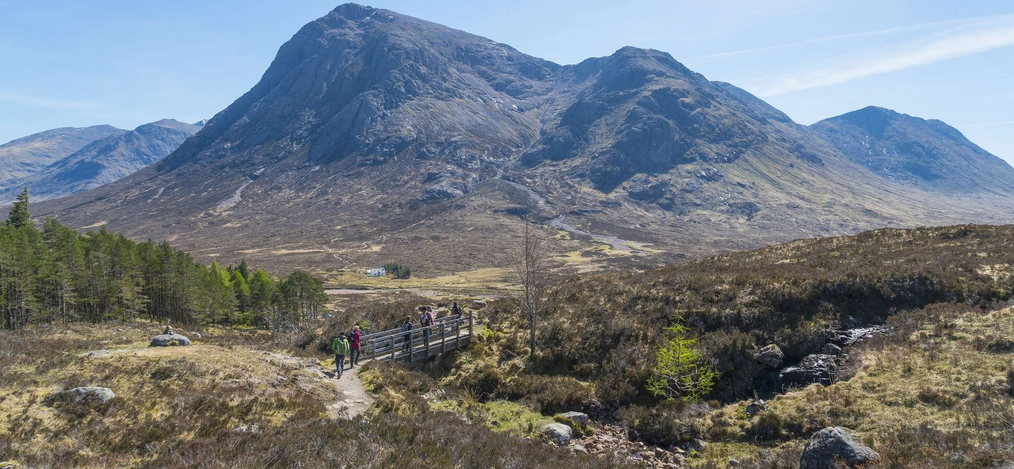 Hillwalkers on the West Highland Way passing Buachaille Etive Mor in Glencoe