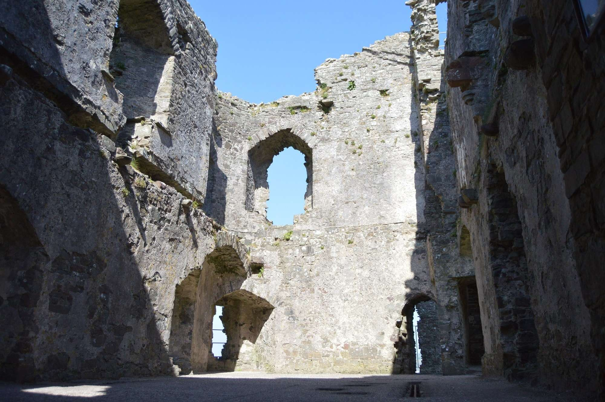 Llansteffan castle Interior, walks in Carmarthenshire