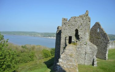 View of Llansteffan castle