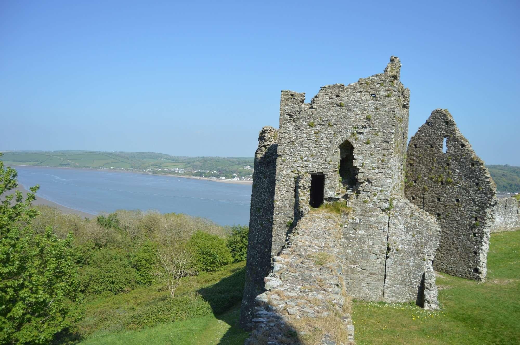 View of Llansteffan castle