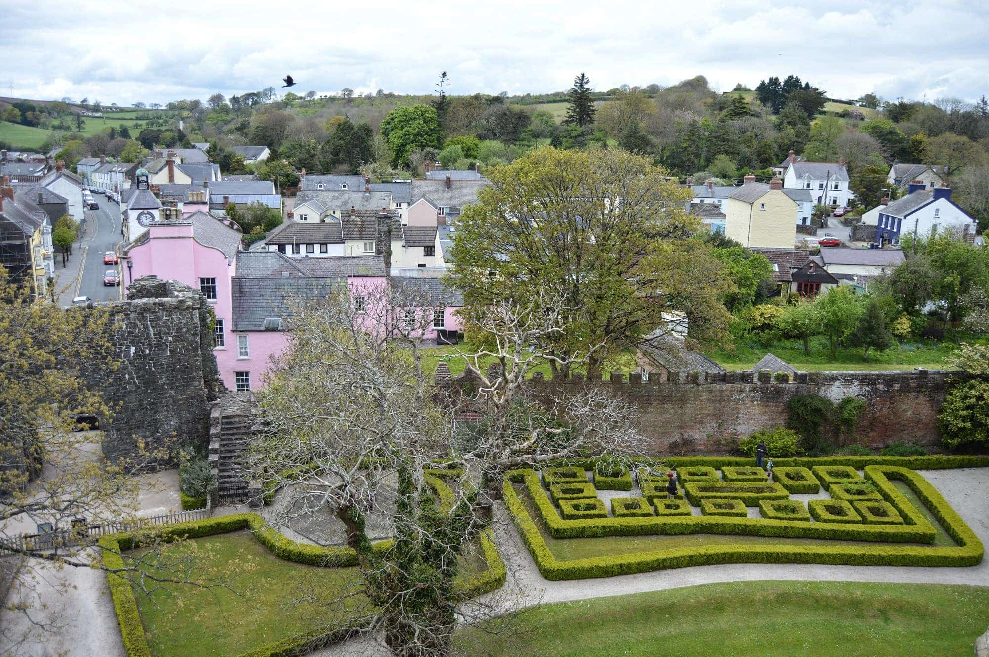 View over Laugharne from Laugharne Castle