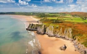 Ariel view of Three Cliffs Bay