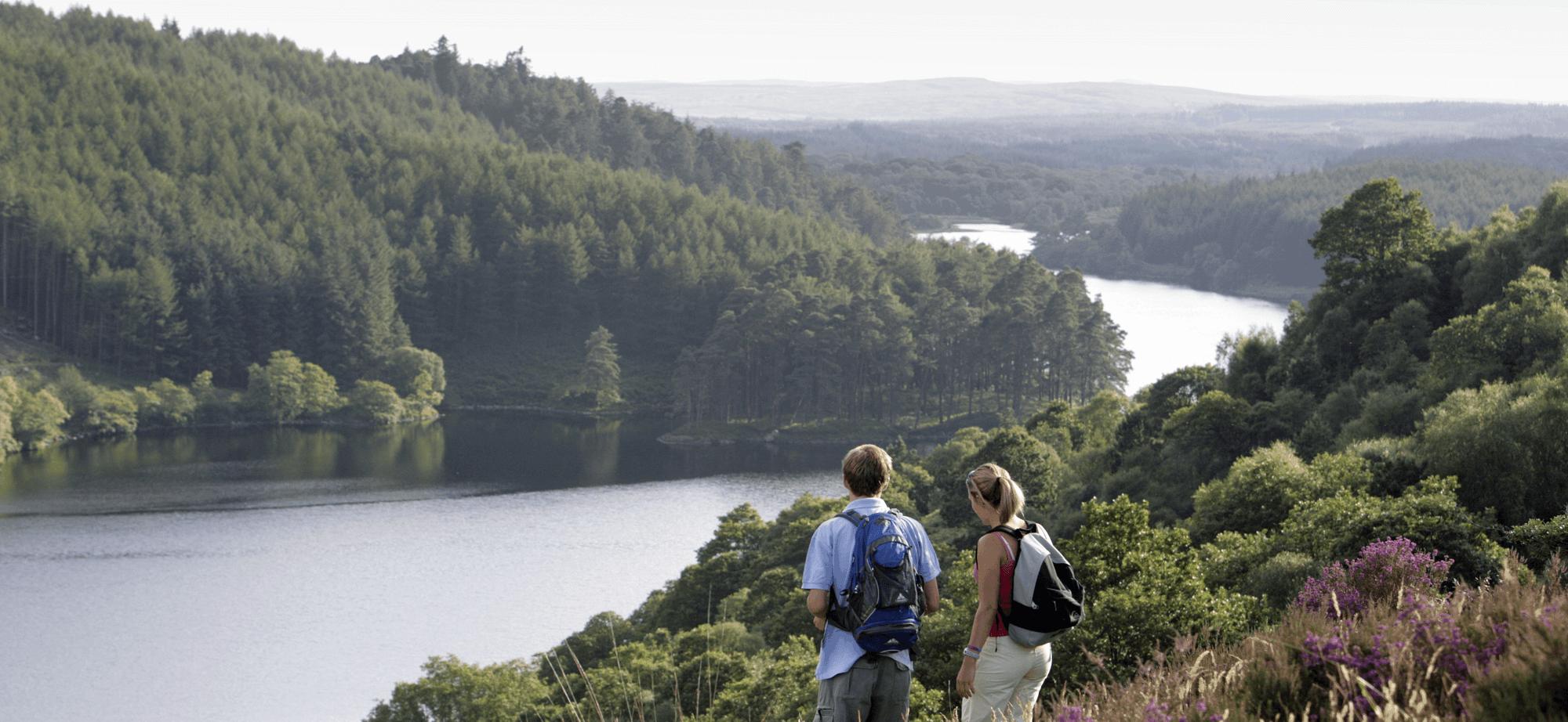 Two Walkers overlooking river