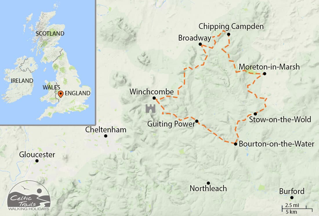 Map of our Cotswold Round Walking Holiday route