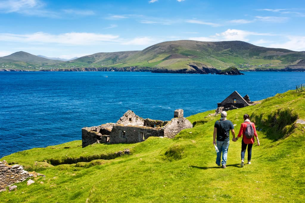 Couple Walking Dingle Way with View of Blasket Islands