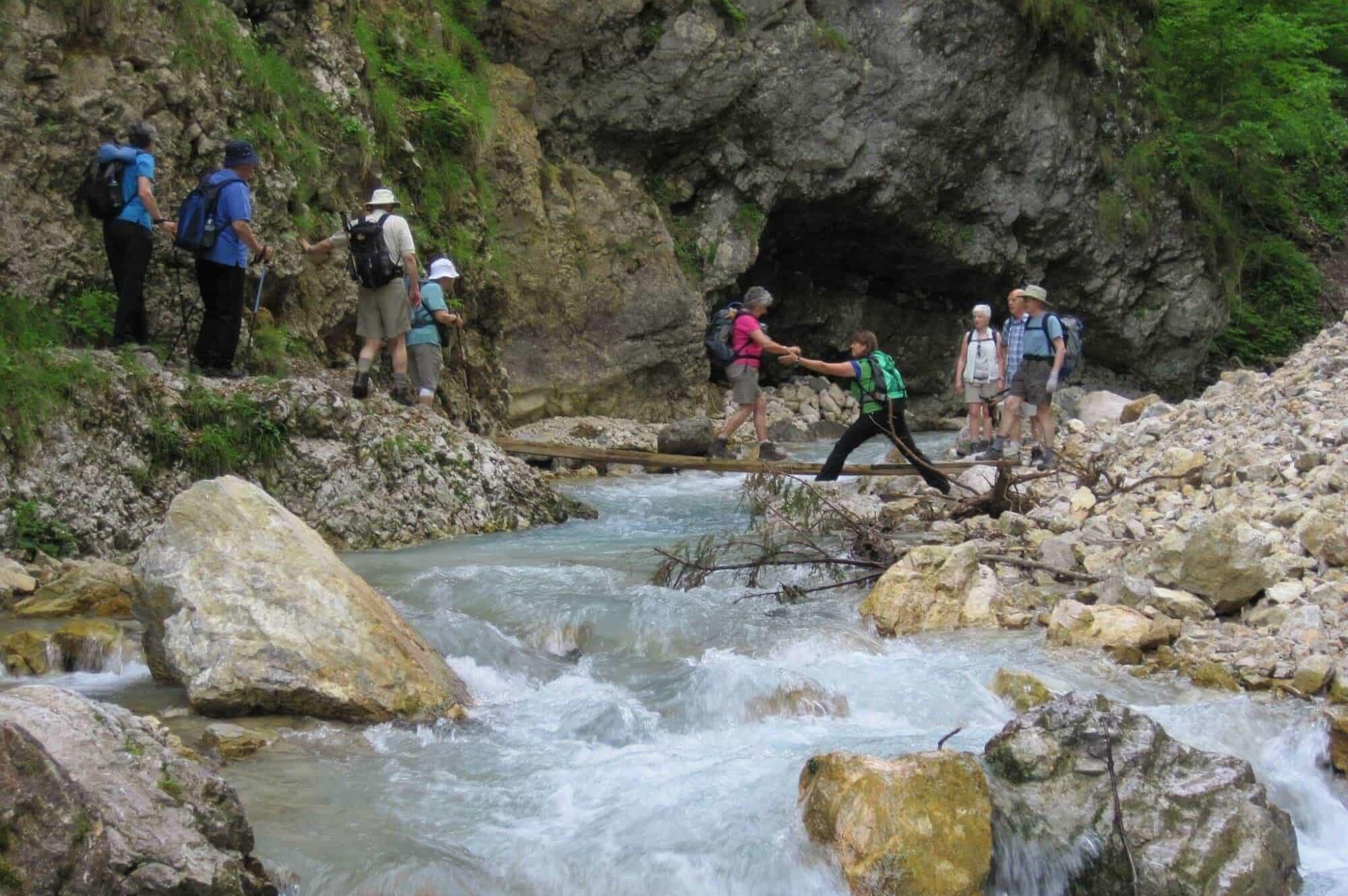 Crossing Martuljek River, Slovenia
