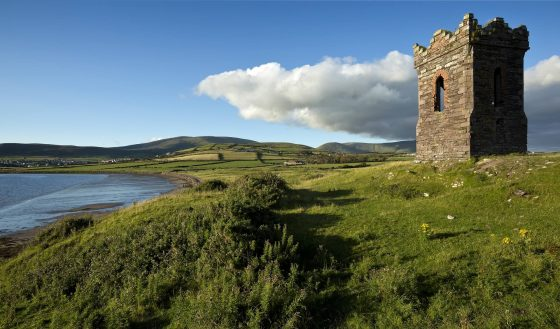 Walking holidays ireland, old stone watchtower Dingle Bay, The Dingle Way