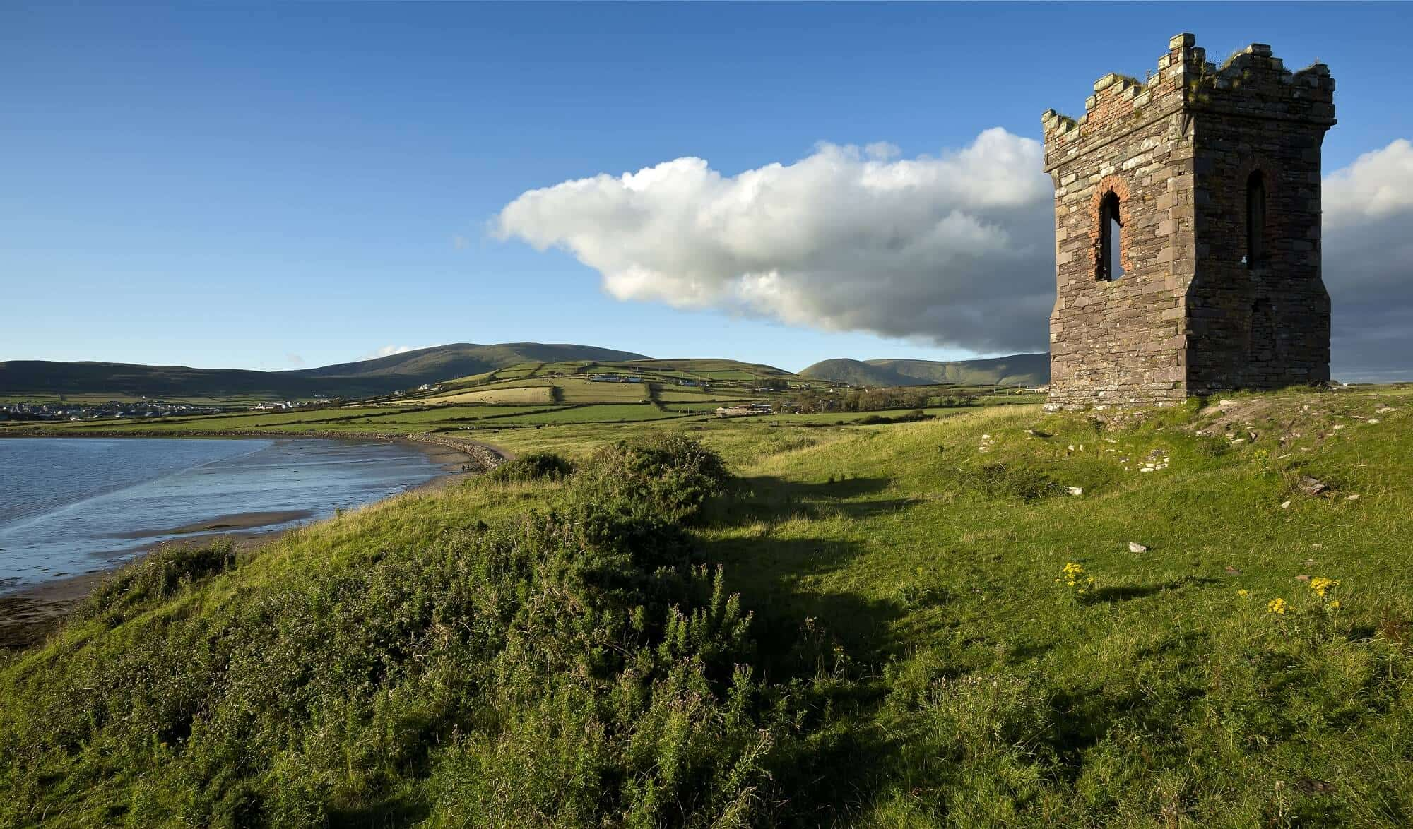 Walking holidays ireland, old stone watchtower Dingle Bay, The Dingle Way
