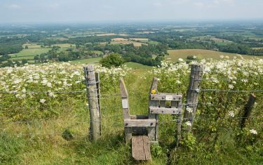 View of the open landscape and countryside during the day at Ditchling Beacon, South Downs.