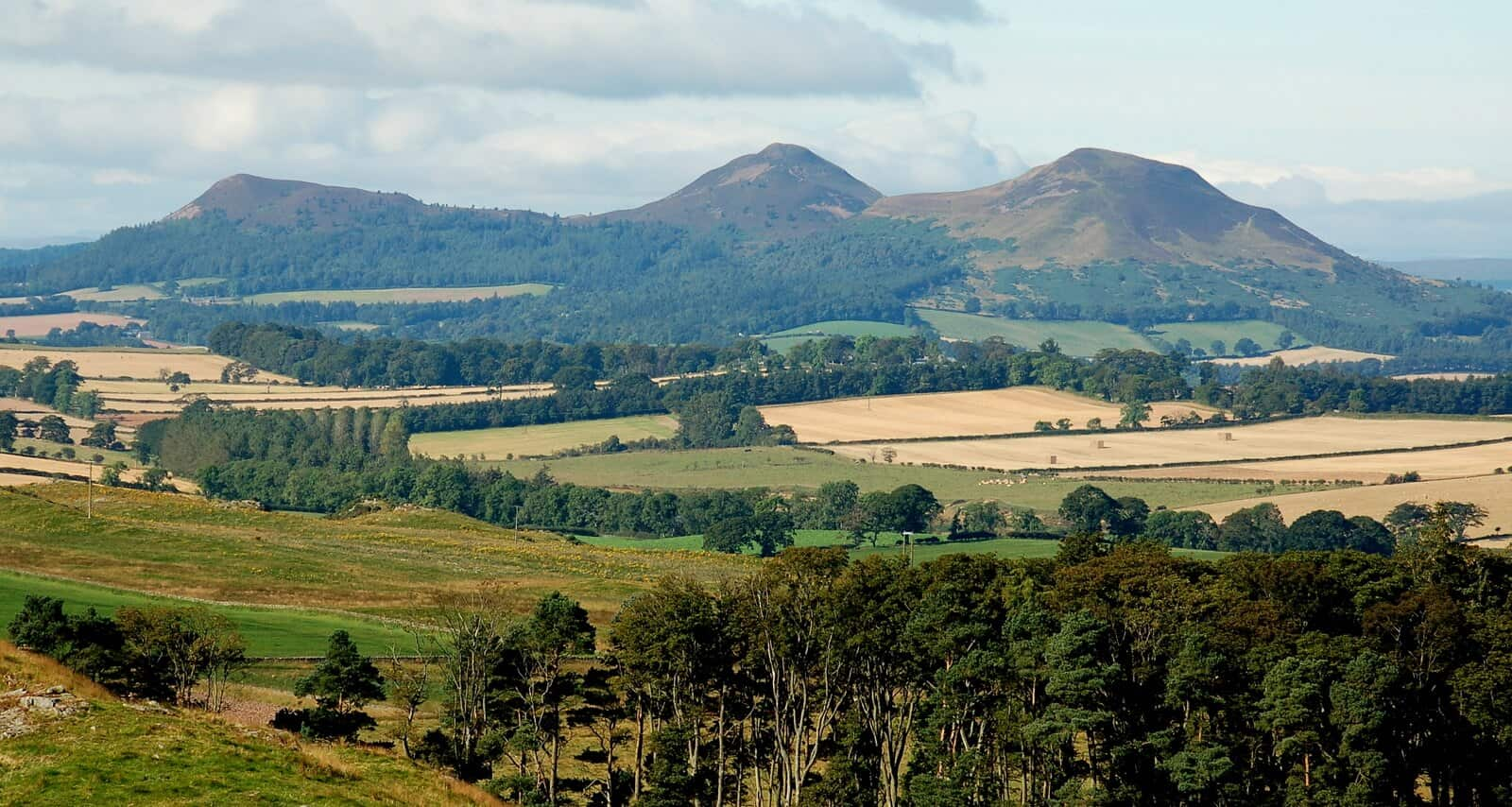 Eildon hills countryside scenery on the Borders Abbeys Way