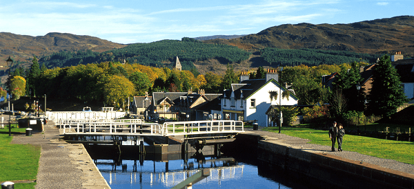 Route across the Caledonian Canal
