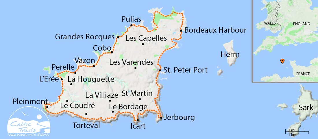 Guernsey Walking Holiday Map