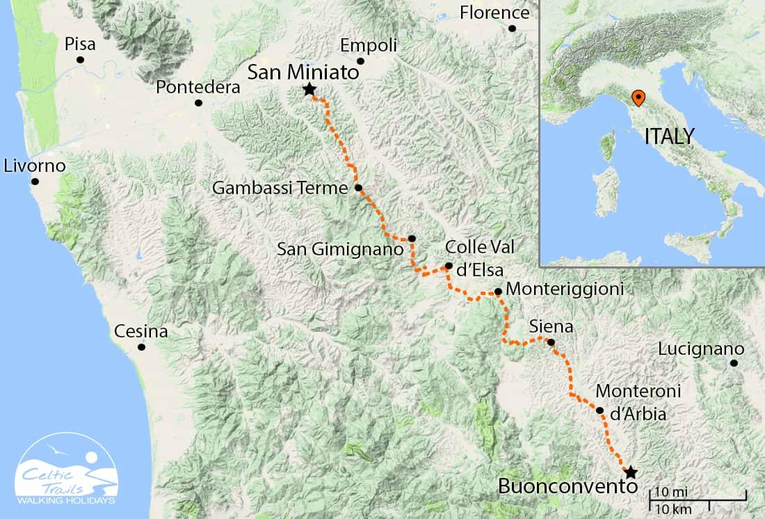 Tuscan Via Francigena Map